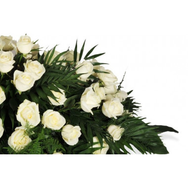 """Fleurs en Deuil   zoom sur un ensemble de roses blanches de la Raquette de roses blanches """"L'Ange Gardien"""""""