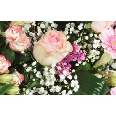 """Fleurs en Deuil  vue sur des roses roses et du gypsophile de la Composition de fleurs deuil rose """"Repos Eternel"""""""