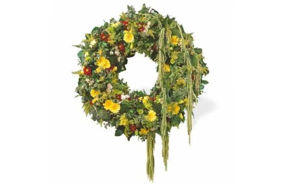 Fleurs en Deuil | vue sur l'ensemble de la Couronne de deuil Ciel Étoilé