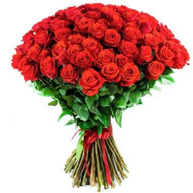 Fleurs en Deuil | Image du Bouquet de roses rouges longues tiges