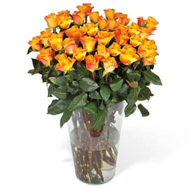 Fleurs en Deuil   image du Bouquet de Roses Oranges longues tiges