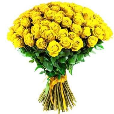 Fleurs en Deuil   image du Bouquet de Roses Jaunes longues tiges