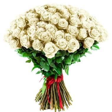 Fleurs en Deuil | image du Bouquet de Roses Blanches longues tiges