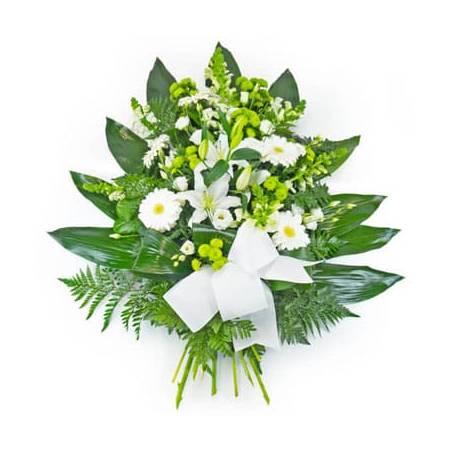 Fleurs en Deuil | image de la Gerbe de fleurs deuil blanche