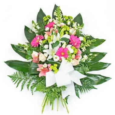 Fleurs en Deuil | image de la Gerbe de deuil de fleurs roses & blanches