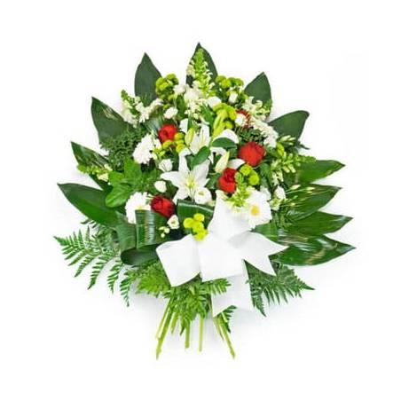Fleurs en Deuil | image de la Gerbe de deuil de fleurs rouges & blanches