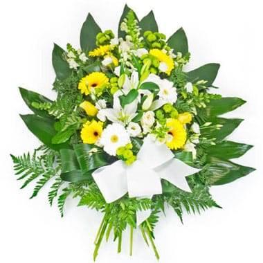 Fleurs en Deuil | image de la Gerbe de fleurs piquées jaunes & blanches