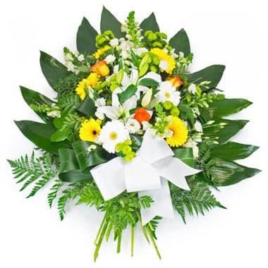 Fleurs en Deuil | image de la Gerbe de fleurs piquées jaunes oranges & blanches
