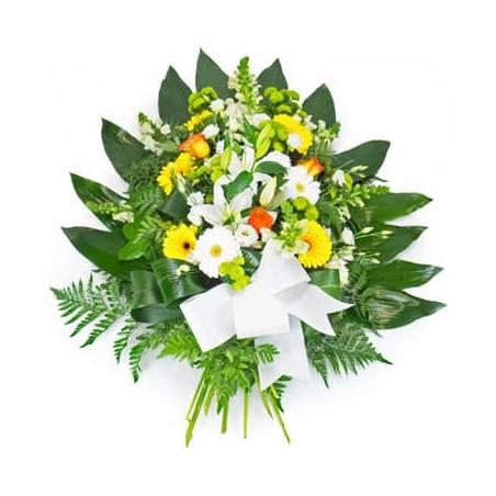 Fleurs en Deuil   image de la Gerbe de fleurs piquées jaunes oranges & blanches