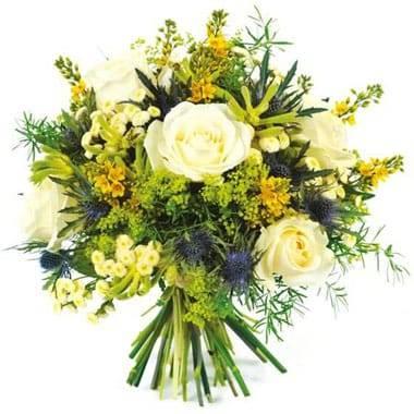Fleurs en Deuil| Image du bouquet rond de fleurs blanche et jaune Alchimie