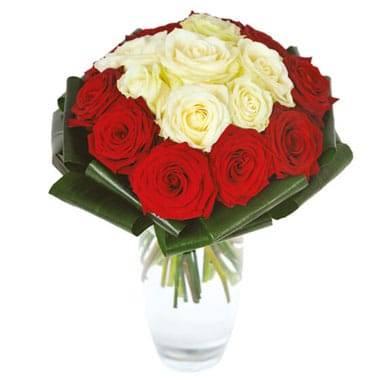 Fleurs en Deuil| image du bouquet de roses rouges et blanches