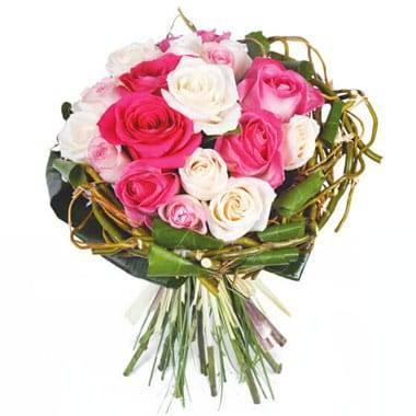 Fleurs en Deuil | image du bouquet rond de roses roses & blanches