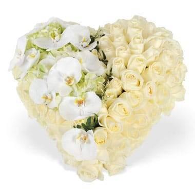 Fleurs en Deuil | image du coeur de deuil blanc chérubin