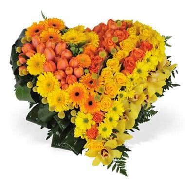 "Fleurs en Deuil | image du Coeur en fleurs tons orangés ""Murmure"""