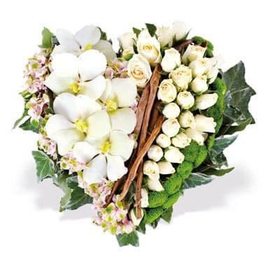 Fleurs en Deuil | Image du coeur de deuil dans les tons blancs Douceur