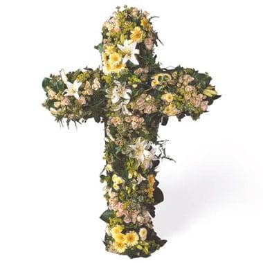 "Fleurs en Deuil | image de la Croix en fleurs de deuil ""Universel"""