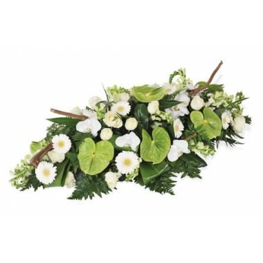 Fleurs en Deuil | image de la raquette de deuil vertes & blanche du nom de Commémoration