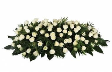 """Fleurs en Deuil  image de la Raquette de roses blanches """"L'Ange Gardien"""""""