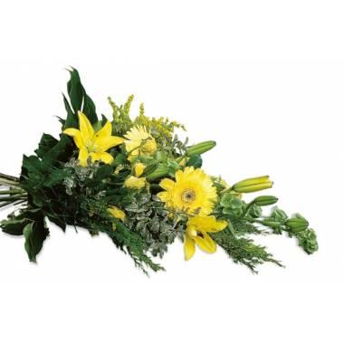 Fleurs en Deuil | image de la gerbe de fleurs tons jaunes du nom d'Hommage